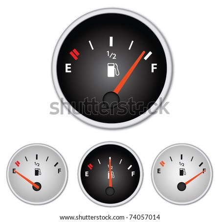 Image of various gas gages isolated on a white background. - stock vector