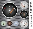 Image of various gas gauges on a metallic background. - stock photo