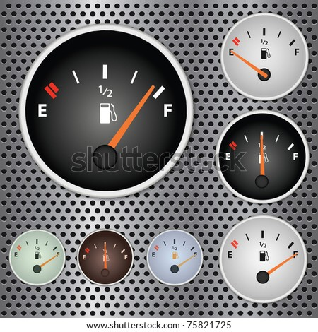 Image of various gas gauges on a metallic background. - stock vector