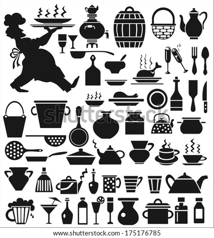 Image of various icons on a white background with the dishes. Chef carrying a tray.