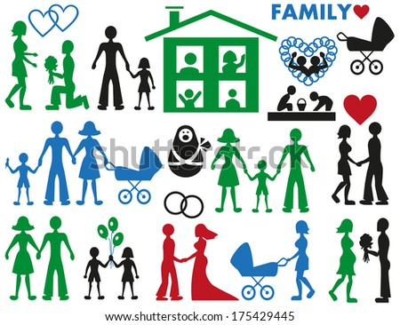 Image of various icons with families and couples in love.