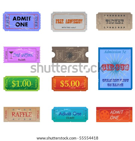 Image of various vintage and worn tickets. - stock vector