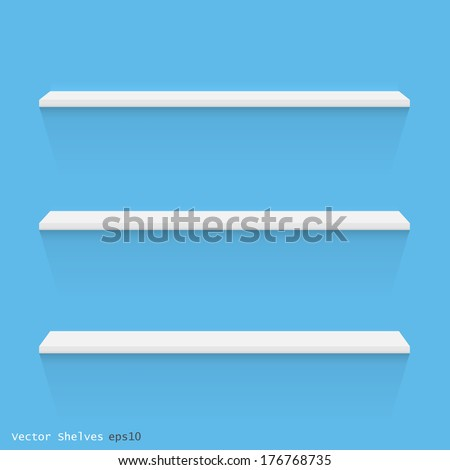 Image of white shelves against a colorful blue wall. - stock vector
