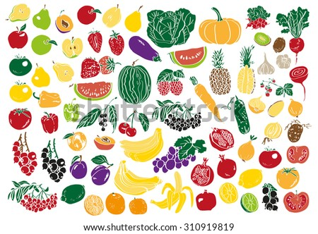 Image on a white background color of vegetables, fruits and berries.