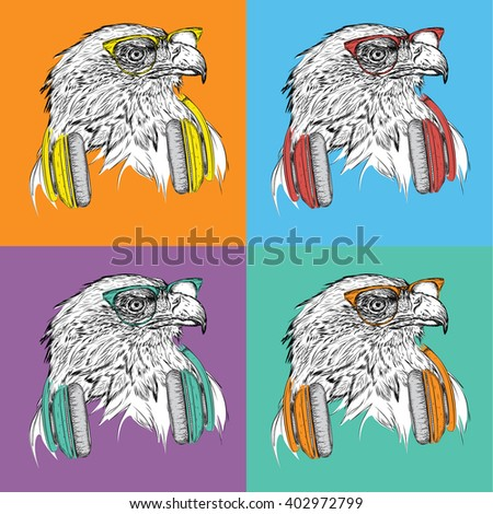 Image Portrait of eagle in a baseball cap with glasses. Pop art style vector illustration.