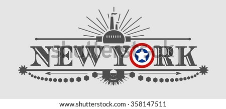 Image relative to USA industry. New York city name with flag colors styled letter O. Urban industrial cluster. Vintage elements  - stock vector