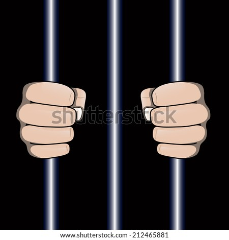 image showing fists of jailed man. Transparency used for shadows.  - stock vector