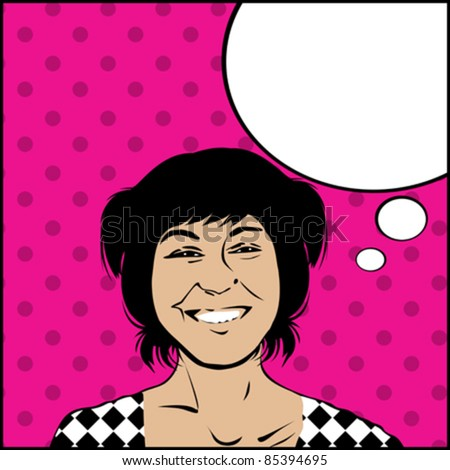 Image shows a comic style graphic of a very happy girl and a speech bubble for your text - stock vector