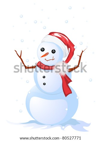 Image shows a smiling snowman, isolated and grouped objects over white - stock vector