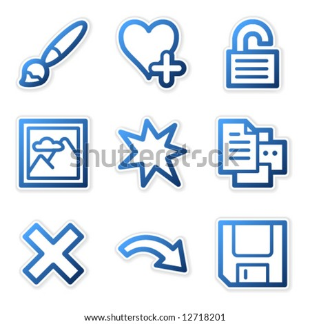 Image viewer icons 2, blue contour series - stock vector