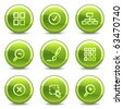 Image viewer icons, green circle glossy buttons - stock vector