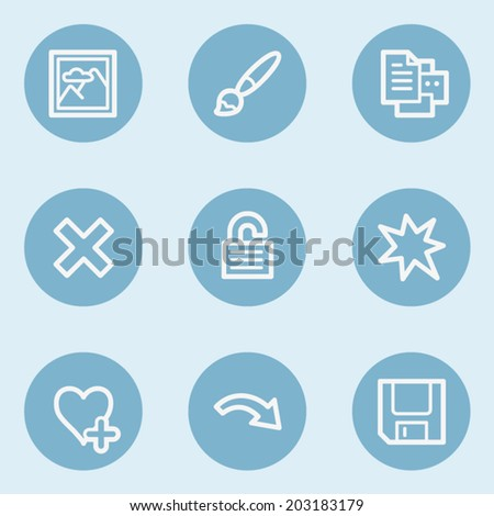 Image viewer web icon set 2,  blue buttons - stock vector