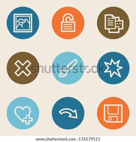 Image viewer web icon set 2, color circle buttons - stock vector