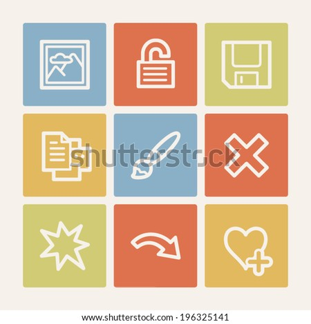 Image viewer web icon set 2, color square buttons - stock vector