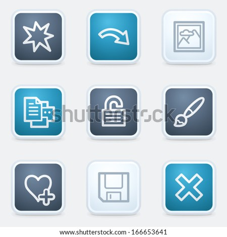 Image viewer web icon set 2, square buttons - stock vector