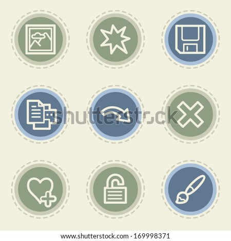 Image viewer web icon set 2, vintage buttons - stock vector