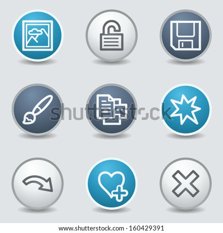 Image viewer web icons, circle blue buttons - stock vector