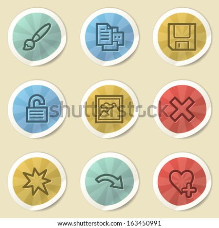 Image viewer web icons, color vintage stickers - stock vector