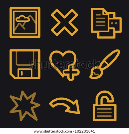 Image viewer web icons, gold line set - stock vector