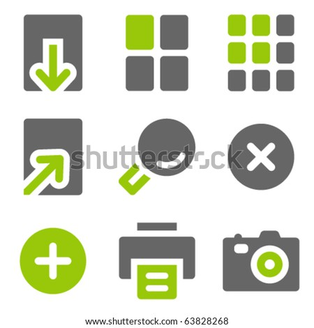 Image viewer web icons, green grey solid icons - stock vector