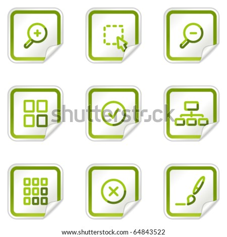 Image viewer web icons, green stickers series