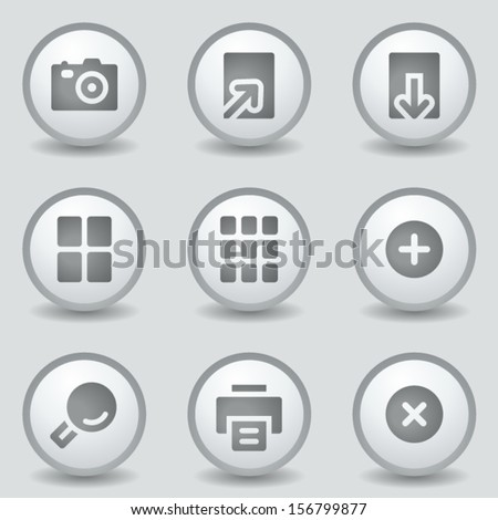Image viewer web icons, grey circle buttons