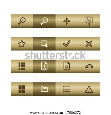 Image viewer web icons on bronze bar. Vector file has layers, all icons in two versions are included.