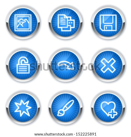 Image viewer web icons set 2, blue buttons - stock vector