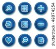 Image viewer web icons set 1, blue circle buttons - stock vector