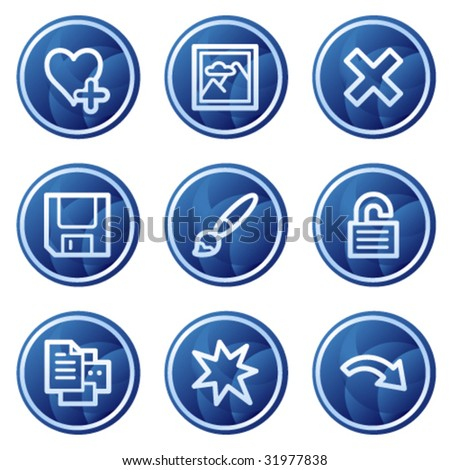 Image viewer web icons set 2, blue circle buttons series