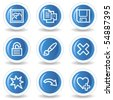 Image viewer web icons set 2, blue glossy circle buttons - stock vector