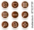 Image viewer web icons set 1, chocolate buttons - stock vector