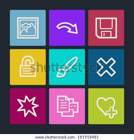 Image viewer web icons set 2, color buttons - stock vector