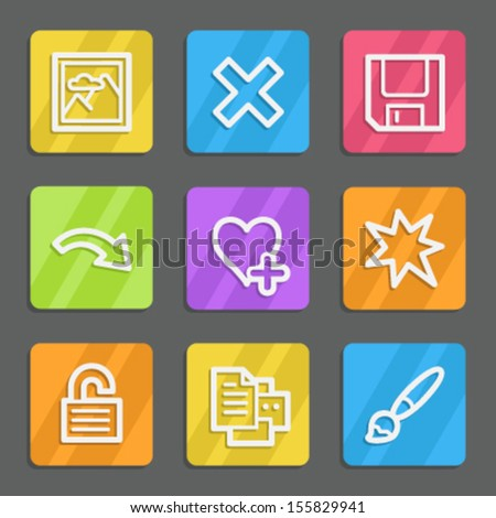Image viewer web icons set 2, color flat buttons - stock vector