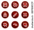 Image viewer web icons set 2, dark red circle buttons - stock vector