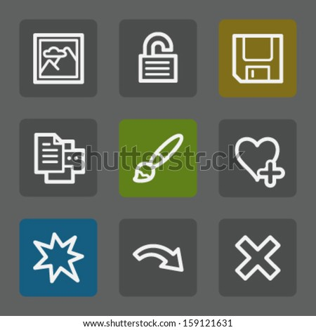 Image viewer web icons set 2, flat buttons - stock vector