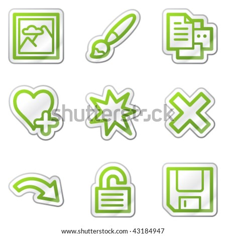 Image viewer web icons set 2, green contour sticker series - stock vector