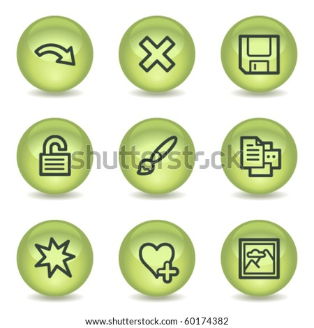 Image viewer web icons set 2, green glossy circle buttons - stock vector
