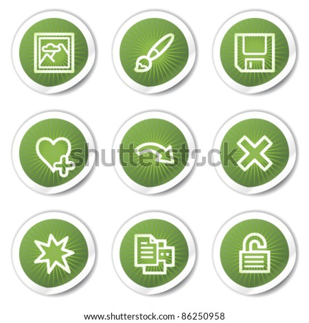 Image viewer web icons set 2, green  stickers - stock vector