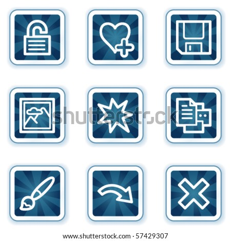 Image viewer web icons set 2, navy square buttons - stock vector