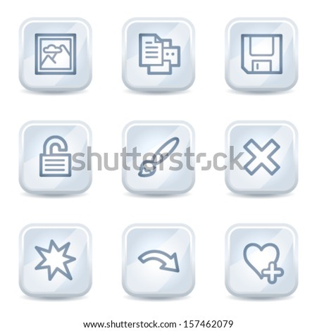 Image viewer web icons set 2, white glossy buttons
