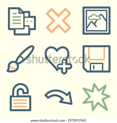 Image viewer web icons, square buttons - stock vector