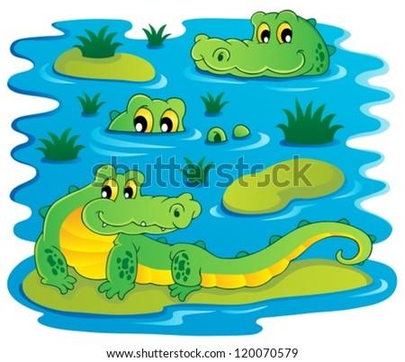 Image with crocodile theme 1 - vector illustration. - stock vector