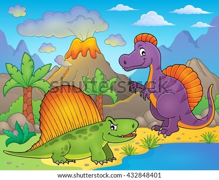 Image with dinosaur thematics 1 - eps10 vector illustration. - stock vector