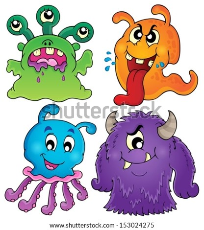 Image with monster theme 1 - eps10 vector illustration.