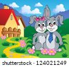 Image with rabbit theme 8 - vector illustration. - stock photo