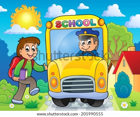 Image with school bus theme 6 - eps10 vector illustration. - stock vector