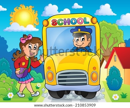 Image with school bus theme 8 - eps10 vector illustration. - stock vector