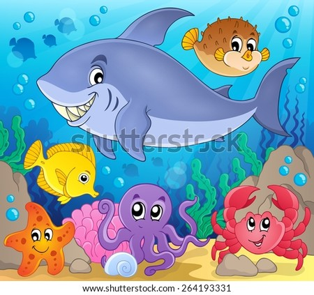 Image with shark theme 7 - eps10 vector illustration. - stock vector