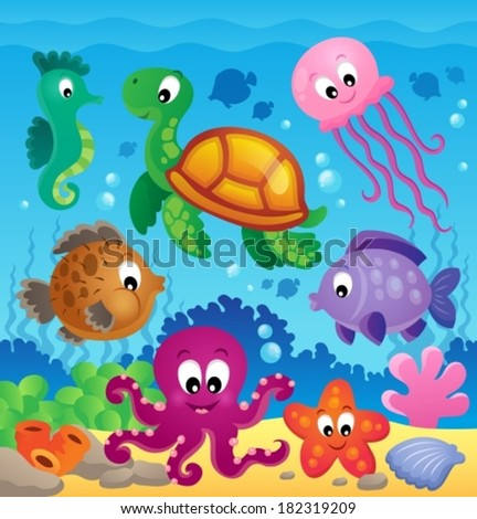 Image with undersea theme 7 - eps10 vector illustration. - stock vector